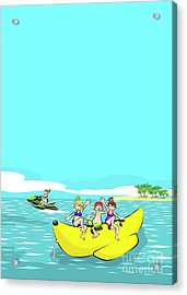 Group Of Friends On A Banana Boat Acrylic Print