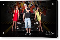 Group Of Young People Beside Black Modern Car Acrylic Print