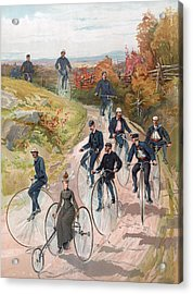 Group Riding Penny Farthing Bicycles Acrylic Print by American School