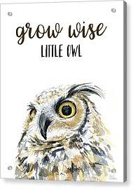 Grow Wise Little Owl Acrylic Print