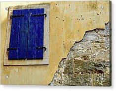 Groznjan Istrian Hill Town Stonework And Blue Shutters  - Istria, Croatia Acrylic Print