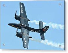 Acrylic Print featuring the photograph Grumman F7f-3p Tigercat Nx700f Here Kitty Kitty Chino California April 30 2016 by Brian Lockett