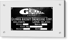 Grumman Product Plate Acrylic Print