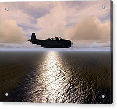 Acrylic Print featuring the digital art Grumman Tbf 01 by Mike Ray