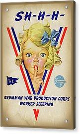 Grumman Worker Sleeping Poster Acrylic Print