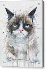 Grumpy Cat Watercolor Painting  Acrylic Print