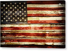 Grunge American Flag Acrylic Print by Les Cunliffe