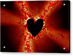 Grunge Heart Acrylic Print by Phill Petrovic