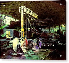Acrylic Print featuring the photograph Grunge Hydraulic Lift by Robert G Kernodle