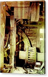 Acrylic Print featuring the photograph Grunge Mill Wheels by Robert G Kernodle