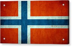 Grunge Norway Flag Acrylic Print by Dan Sproul