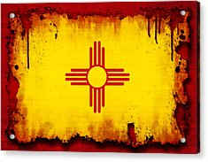 Grunge Style New Mexico Flag Acrylic Print by David G Paul
