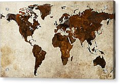 Grunge World Map Acrylic Print by Gary Grayson