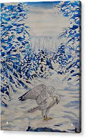 Gryfalcon In Taos Acrylic Print by George Chacon