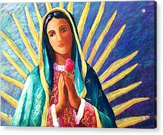 Guadalupe With Rose Acrylic Print by Candy Mayer