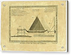Acrylic Print featuring the drawing Guam Proa  Batiment Leger Des Isles Des Larron by Ex Anson