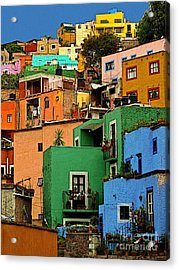 Guanajuato Hillside 2 Acrylic Print by Mexicolors Art Photography