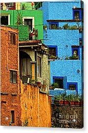 Guanajuato Hillside 3 Acrylic Print by Mexicolors Art Photography
