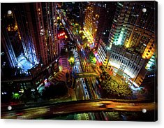 Acrylic Print featuring the photograph Guangzhou City Streets At Night by Geoffrey Lewis