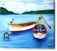 Guanica Fisherman Acrylic Print by Gloria E Barreto-Rodriguez