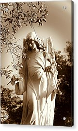 Guardian Angel Bw Acrylic Print by Susanne Van Hulst