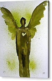 Guardian Angels Golden Heart Acrylic Print by Alma Yamazaki
