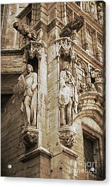 Guarding The Grand Place In Sepia Acrylic Print