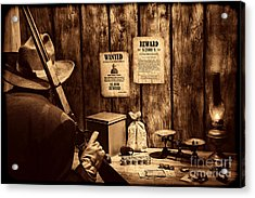 Guarding The Payroll Acrylic Print by American West Legend By Olivier Le Queinec
