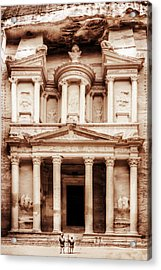 Acrylic Print featuring the photograph Guarding The Petra Treasury by Nicola Nobile