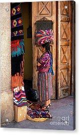 Guatemala Maya Textile Vendor Acrylic Print
