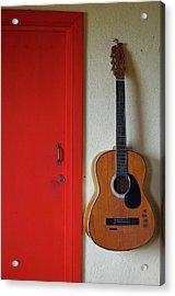 Guitar And Red Door Acrylic Print