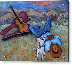 Guitar Doggy And Me In Wine Country Acrylic Print