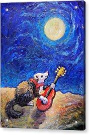 Guitar Ferret Acrylic Print by Sebastian Pierre