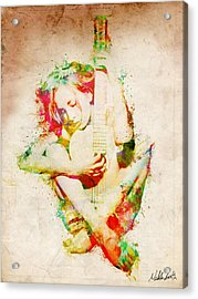 Guitar Lovers Embrace Acrylic Print