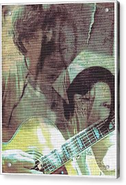 Guitar Player And The Nurse Acrylic Print by Miles Mulloy