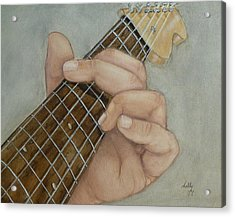 Guitar Strumming In 'g' Cord Acrylic Print by Kelly Mills