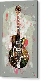 Guitar Stylised Pop Art Poster Acrylic Print