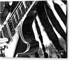 Acrylic Print featuring the photograph Guitar Zebra by Roxy Riou