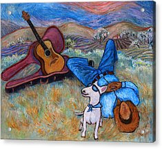 Guitar Doggy And Me In Wine Country Acrylic Print by Xueling Zou