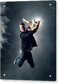 Guitarist Jumping High Acrylic Print by Johan Swanepoel