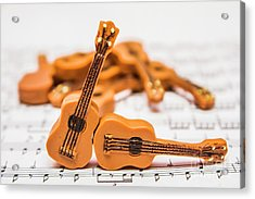Guitars On Musical Notes Sheet Acrylic Print
