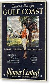 Gulf Coast - Illinois Central - Vintage Poster Folded Acrylic Print