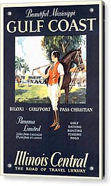 Gulf Coast - Illinois Central - Vintage Poster Restored Acrylic Print