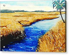 Acrylic Print featuring the painting Gulf Coast Marsh II Detail Original Fine Art Painting by G Linsenmayer