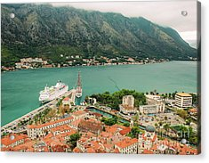 Gulf Of Kotor With Cruise Liner Acrylic Print