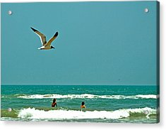 Gulf Of Mexico From Padre Island Acrylic Print by Jorge Gaete