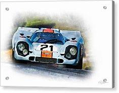 Gulf Porsche Acrylic Print by Peter Chilelli