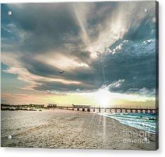 Gulf Shores Al Pier Seascape Sunrise 152c Acrylic Print