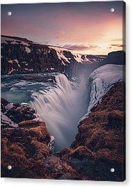 Gullfoss Sunset Acrylic Print by Tor-Ivar Naess