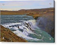 Gullfoss Waterfall # 1 Acrylic Print by Allen Beatty